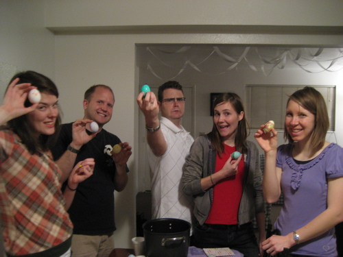 The Easter-egg gang. From left to right: Marti and Jon Major, Dave Gravett, Merry Packard, and my beautiful wife Camber.